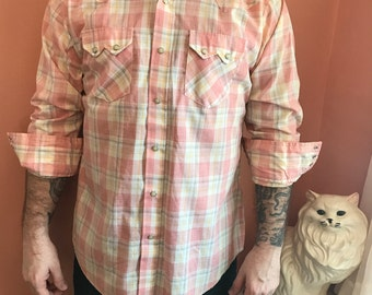 80s Western Shirt, Pink Cowboy, Snap Button Down by Dee Cee Brand (B434)