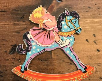 Vintage 50s, Rocking Horse, Little Blonde Girl, Wall Art Diecut, Nursery Art (B605)