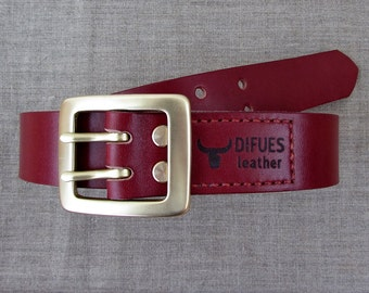 Dark Red handmade leather belt