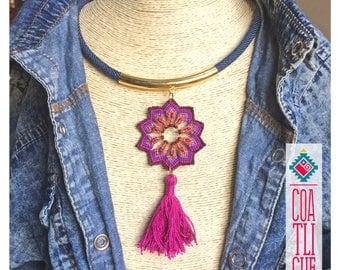 Mandala macrame necklace or choker mexican boho & hippie style handmade