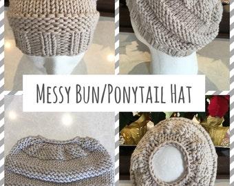Messy Bun Hat, Ponytail Hat, Ladies Hat, Ladies Beanie,