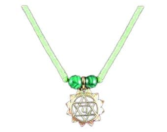 Silver and Bronze Anahata Chakra Pendant with Malachite
