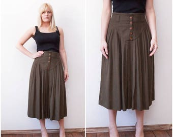 90s Midi Skirt Olive Green Full Midi Skirt High Waisted Khaki Skirt Long Floaty Skirt W30 Medium Mid Calf Circle Skirt High Waist 30 Skirt M
