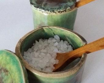 Fleur de sel jar of hand made ceramics, raku fired