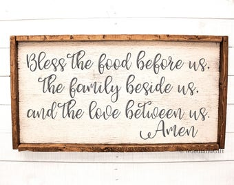 Bless the Food Before us The Family Beside us and the Love Between us Amen   Framed Rustic Wood Sign   Dining Room Sign   Rustic Kitchen Art