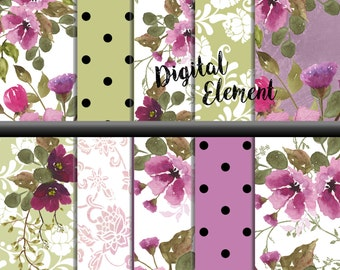 Digital Paper, Watercolor Scrapbook Paper, Pink and Lilac Shabby Paper, Wedding Paper, Shabby Lilac and Pink Rose Paper. No. P161