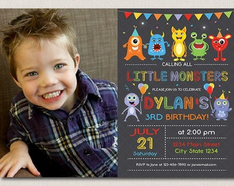 Monster birthday invitation, !st birthday, Monster invite, Monsters party, Boy, chalkboard, Custom Photo Invitation