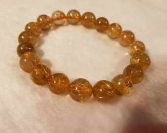 10MM Big Golden Rhutile Round Beaded  Bracelet . AAA Quality  bracelet in 7.5 Inch stretch Bracelet