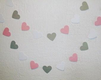 Pink Grey Paper Heart Garland/ Birthday garland/ Wedding GARLAND/ Party décor/Bridal Shower Décor/