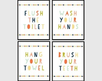 kids bathroom wall art kids bathroom decor wash your hands set of 4