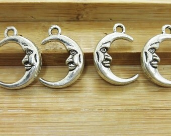 60pcs Double Sided  Half Moon Charms, Half Moon Pendants ,  Antique Silver Charms ,  Pendants, findings, DIY supplies ,Jewelry Supply