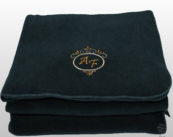 Personalized Custom Embroidery Deluxe Polar Sofa Bed Travel Fleece Embroidered Blanket – Blue Navy