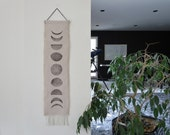 Gift under 30, Moon Phase, Wall Hanging, Boho chic, Fringe, Block Print ,Modern Home Decor