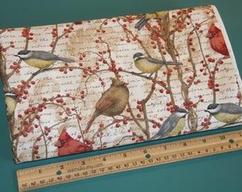 1.75 Yards Cotton Fabric Winter Birds Vine NEW