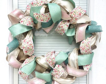 Summer wreath, spring wreath, baby girl wreath, pink and green wreath, front door wreath, baby wreath, cheerful wreath