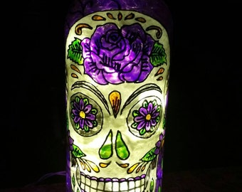 Sugar Skull Upcycled Hand Painted Lighted Bottle