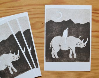 "Postcard set of 4 ""rhino"""