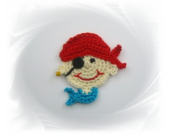 Patch pirate, crochet pirate, crochet, pirate application, application for sewing, pirate