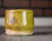 Cup, Ceramic Cup, Yellow Ceramic Cup, Pottery Tumbler, Butterfly, Flower Cup, Wheel Thrown Pottery Cup, Short Tumbler, Ceramic and Pottery