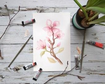 Original wall art Watercolor Paintings, Blossom flower Watercolors, blossom Print, Watercolor Flowers, Painting ,botanical watercolor art