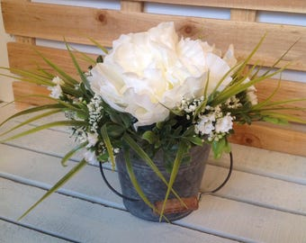 White Peony Rustic Centerpiece, Wedding Reception Floral, Rustic Centerpiece, Tin Container Floral