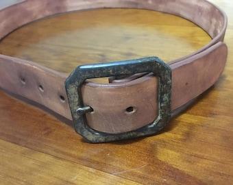 Men's Leather Belt: Light Brown