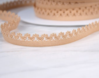 7 m 12mm, polyester and spandex, beige Ribbon, (4702)