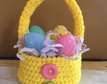 Yellow crochet Easter basket, yellow Easter basket, yellow basket, yellow basket crochet, yellow basket with handle