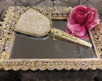 Now sold! A quirky little mirrored tray with vintage vanity mirror