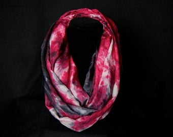 "Infinity scarf- Hand dyed 100% silk infinity scarf-""Fire Red, White and Black"""