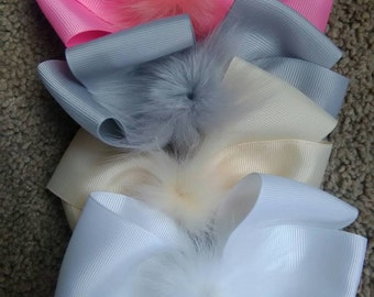 Fuzzy hairbow, fashion hairbow set, hairbow set of 11