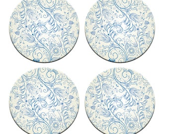 A pack of 4 blue floral handrawn design Pattern weights Ideal for weighing down patterns on delicate fabrics no need for pins