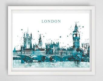 London poster, art print London, illustration architecture, impression England, big ben illustration, decoration city