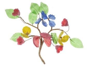 Mid Century Modern Hollywood Regency Vintage Sculpture Glass Wire Floral Flowers