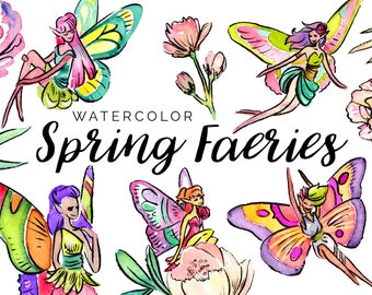 Watercolor Spring Faeries Clipart Set - High Res, PNG, Printable and Cute! For stationery, birthdays and nurseries