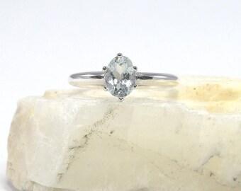 Aquamarine ring, sterling silver aquamarine ring, ring aquamarine, oval stone ring, aquamarine, ring size 3 4 5 6 7 8 9 10 11 12 13