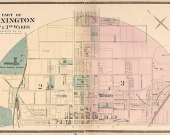 1877 Map of Northern Lexington Fayette County Kentucky