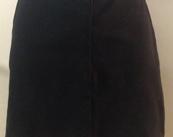 1990s Black Cotton and Lycra Mini Skirt by Betsey Johnson in Sz 2. Great for school with leggings.