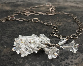 Glass bead cluster pendant necklace with hand made sterling chain