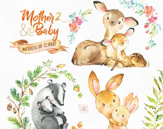 Mother Amp Baby 2 Watercolor Animals Clipart Deer Rabbit