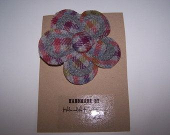 Tweed flower brooch.  Tartan flower brooch.  Grey, purple flower corsage, brooch. Gift for her, birthday gift teacher gift, valentine gift