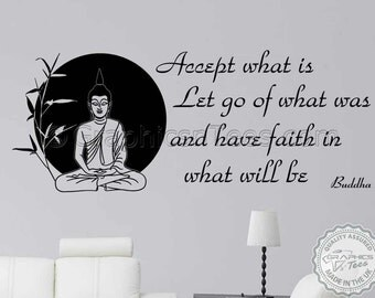 Buddha Inspirational Quote, Family Wall Sticker, Accept What Is, Home Wall Art Mural  Decal