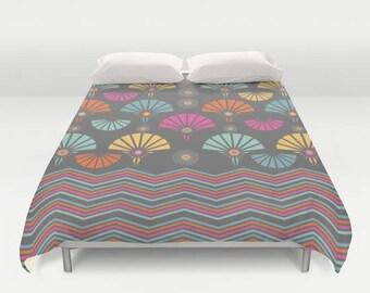 Moonlit garden,Art deco Duvet cover,Bedding,Bedroom decor,Queen,King and Full duvet cover,chevron,orange,turquoise,pink,grey,Vintage duvet