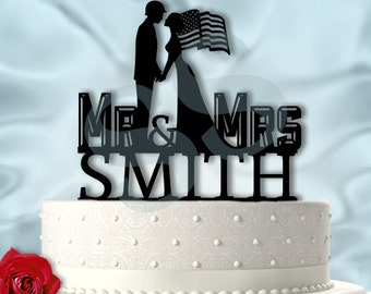Mr and Mrs Military Wedding Cake Topper