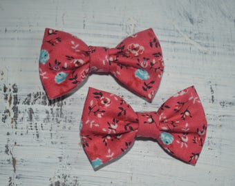 Red Rose Floral Pigtail Bow Set