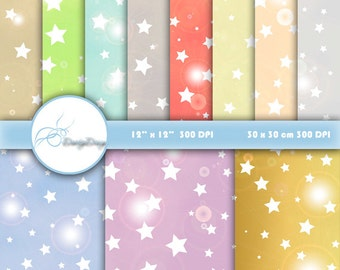 Stars Scrapbook Paper, Digital paper Stars, Printable Stars Background, Stars Paper Pack, Stars Paper, Instant Download
