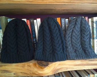 Adult Staghorn Cable Hat 100% Wool