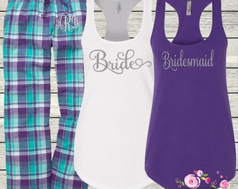 Ladies Pajama Pants and Tank for Bachelorette Party - Cruise - Wedding - Birthday - Bridal Party - Beach - Monogrammed