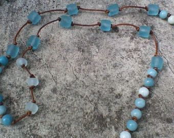 Amazonite and Sea Glass Necklace