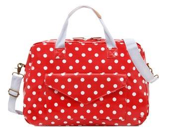 Oilcloth Overnight Bag - Red Polka dot bag - Women Travel bag- Weekend bag- Ladies Duffel bag - Diaper bag- Carry on bag - Large Ladies Bag